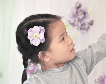 Light purple hair flower clip for kids classy lavendar purple flower barette for girls cute lavender flower bow hairclip owl button flowr