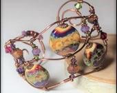 Handmade Jewelry, Cuff Bracelet, Beaded, Wire Cuff, Wirework, Lampwork, Antique Copper, Crystal, Wine, Purple, Lavender, Sage Green, Artisan