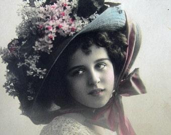 Antique photo postcard, Antique pretty girl photo postcard, Antique flower girl postcard, Antique Edwardian photo postcard, French girl