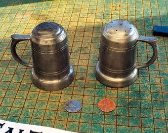 Vintage Pewter Salt and Pepper shakers, tankard style, Preisner Pewter 2172, steampunk picnic