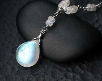 """Rainbow Moonstone Necklace on Sterling Silver - """"Icestorm"""" by CircesHouse on Etsy"""