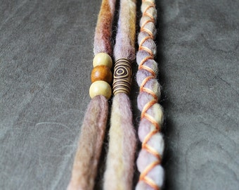 3 Tie-Dye (READY to SHIP)Autumn Harvest Clip-In Wool Dreads Wrapped & Beaded Bohemian Hippie Dreadlocks