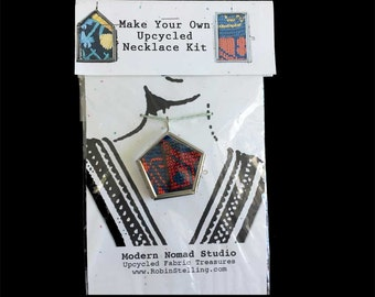 Vintage Upcycled Textile Tribal DIY Necklace Kit | Glass Locket | Boho Chic | Make Your Own Necklace | Recycled Easy Summer Kids DIY SALE