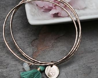 Gold Bangles, Yoga Jewelry, Buddha, Charm Bangles, Hammered Bangles