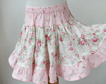 Floral Rose Ruffle Skirt Girls Skirt Pink Girl Clothes Girls Twirl Skirt Summer Girls Clothing 2T 3T 4T 5 6  7 8 10 12 14 Preteen Kids Gift