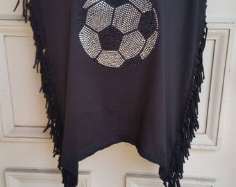 Crystal Soccer Ball on Fringed T Shirt