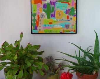 Original Mixed Media Painting Desert Dream