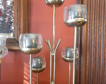 Mid Century Brass  and Glass Candleabra