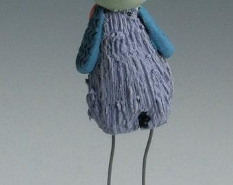 HANDMADE CLAY BIRD,  Purple and Green Bird, Ceramic Bird, Looney Bird, Bird Sculpture, Pottery Bird, Bird Figurine, Yellow Bird, Clay Bird
