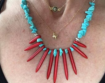 Red Spike Necklace, Turquoise Spike Necklace, Red Howlite Turquoise Necklace, Turquoise Red Howlite Necklace, Red Turquoise Necklace, Spike