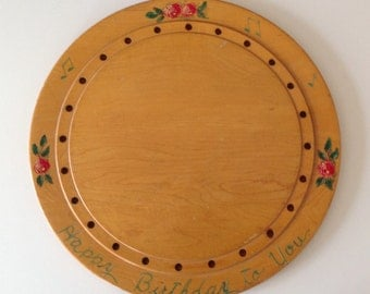 Vintage Wood Happy Birthday Cake Plate Hand Decorated Roses G H Specialty Co