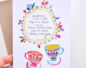"Coffee With You- Art Card - 5x7"" Printed Card by Megan Jewel Designs"