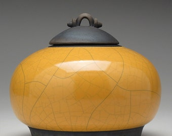 Ceramic jar,Raku  Pottery,Lidded Jar,yellow gold and Black clay jar with lid,Raku Jar, art pottery,covered jar