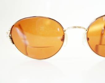 Vintage Round Sunglasses Womens Wire Rim Eyeglasses 1980s 80s Gold Metalllic Retro Glam Rocker Sunnies Eighties Ladies Girls Retro