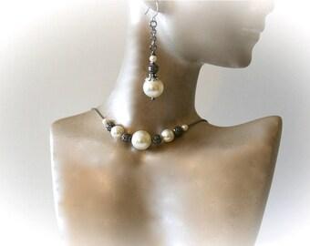 Floating Pearl Choker Necklace & Earrings Set