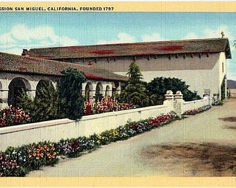 Vintage California Postcard - Mission San Miguel (Unused)