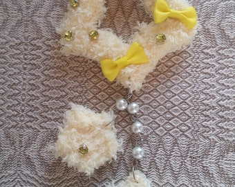 2-Way Yellow Crystal Fuzzy Shooting Star Barrette/Pin