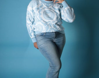 Vintage 90s Sweater // PLUS SIZE Baby Blue Kaleidoscope Lurex Knit Jumper // Plus Size Sweater (sz L)