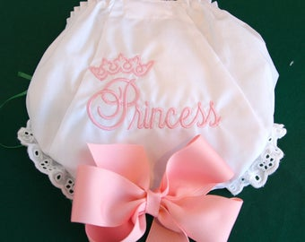Embroidered Diaper Cover in Sizes 1 - 6. White with Princess and Crown on the back.