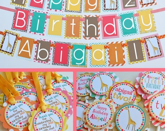 Giraffe Birthday Party Decorations Fully Assembled | Girly Giraffe Party | Modern Giraffe | Safari Birthday | Jungle Party | Zoo Party