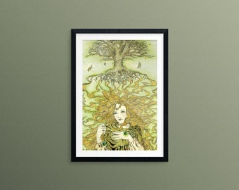 Arafrael's Glamour- Art Print, 7x10, Tree, World Tree, Elf, Fae, Fairy Tale, Nature, Green, Tree of Life, Fantasy Illustration, Watercolor