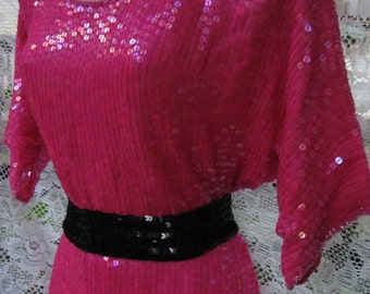 POINSETTIA PINK Christmas dress, 1980s 80s beading, beaded dress, sequined dress, holiday dress  LARGER sized