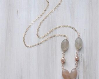 Gemstone Necklace - Quartz Necklace - Minimal Necklace - Chain Necklace - Gold Necklace - Gift for Her Pastel Natural HARMONY Heart in Hand
