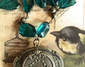 French Antique Compact Mirror Locket London Blue Necklace