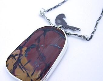 Black Bird Series, indian paint stone, messenger pendant, raven jewellery, death vallery jasper, woodland pendant, twig necklace, branch