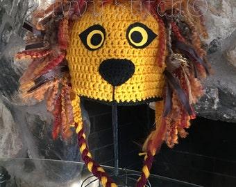 Luna Lovegood's Gryffindor Quidditch Lion Hat Crochet Harry Potter Costume Cosplay Hogwarts Halloween Newborn Baby Child Adult
