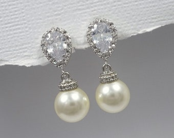 Ivory Pearl Wedding Earrings, Swarovski 10mm Ivory Pearl Bridal Earrings, Wedding Earrings, Pearl Earrings, Ivory Pearl Wedding Earrings