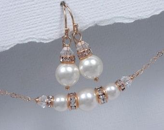 Rose Gold Bridal Jewelry Set,Swarovski White  Pearl Jewelry Set, Bridesmaid Gift, Bridesmaid Jewelry Set, Rose Gold Wedding Jewelry Set