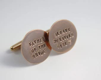 Father of the Bride Cufflinks - Father of the Bride Wedding Gift - Always My Little Girl - Rose Gold Cuff Links - Pink Gold - Rose Gold