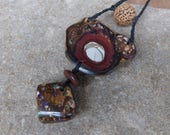 Boulder opal, pebble, seed necklace - handmade in Australia - natural stone jewellery - earthy tribal unique - macrame adjustable lenght