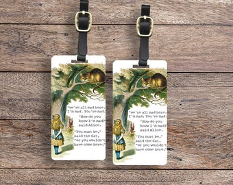 Luggage Tag Set Adventure In Wonderland Alice Chesire Cat Luggage Tag Set With Printed Custom Info On Back, 2 Tags Choice of Straps
