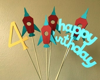 Rocket Party Centerpiece, Rocket Party Centerpiece Sticks, Outer Space Party Centerpiece, Space Birthday Party Centerpiece, Rocket Birthday
