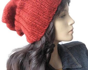 Hand Knit Hat, Mens Beanies, The Alex Hat, Brick Watchman Cap, Slouchy Hat Vegan Knits, Brick Red Fisherman Hat, Mens Hat, Womens Hat