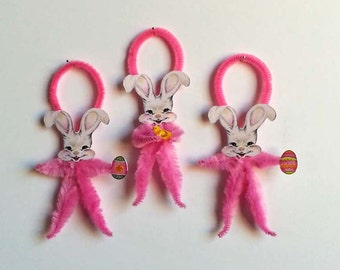 Chenille Easter Ornaments 3-Feather Tree Ornaments-Easter Bunny Rabbit-Vintage Easter Image