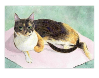 cat art print - a calico cat on the pink mat - watercolor pencil drawing cat lover's gift