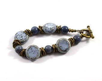 Denim Blue and Brass Bracelet, Blue Bracelet, Denim Blue Bracelet, Ceramic Bracelet, Gemstone Bracelet, Antique Brass, Beaded Bracelet, B032