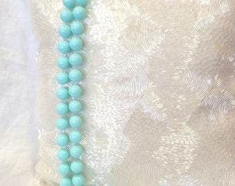 vintage 80s necklace, big bead necklace, aqua necklace, sea foam turquoise, very long necklace, chunky necklace
