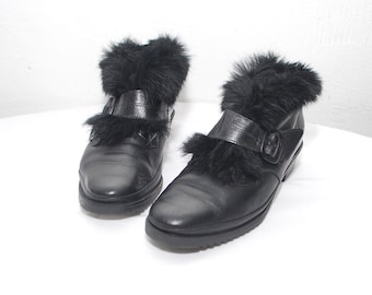 80s black ankle boots. fur trim boots. leather winter booties - eur 38.5, us 8, uk 5.5