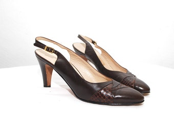 80s FERRAGAMO shoes. brown leather shoes. sling back heels - eur 38, us 7.5, uk 5