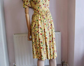 1940's Yellow Poppy Print Dress XXS