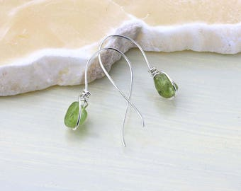 Peridot Drop Earrings- Green Gemstone Earrings- Sterling Silver Earrings for Heart Chakra - August Birthstone