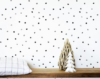 Kids Wallpaper, Shelf Adhesive Wallpaper, Removable Wallpaper, Abstract Black Dots Wallpaper, Nursery Wallpaper, Monochrome. Dots Wallpaper