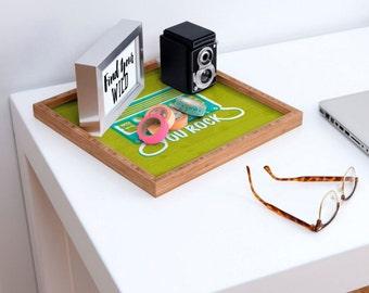 Square Serving Tray // Eco-Friendly Bamboo // Home Decor // Office Organization // Dorm // You Rock Design // Green // Music Lover // Retro