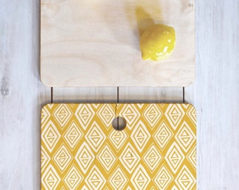 Yellow Geometric Cutting Board // Birch Wood // Serving Board // 3 Sizes // Round, Square, Rectangular // Diamond In The Rough Gold // Boho