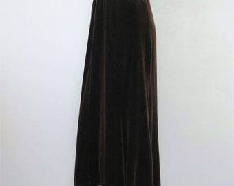 Vintage Brown Velvety Skirt Festival Skirt Long Party Boho 1990's 1980's Maxi Skirt Size Extra Small Size XS