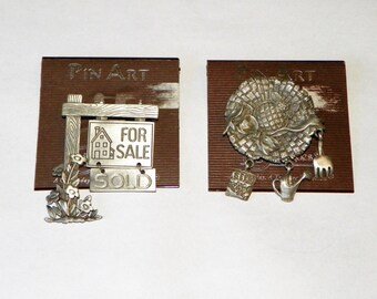 Signed JJ Pewter Sun Hat or For Sale Sign Pin, Pewter Pins by Jonette Jewelry on Original Card, Realtor, Real Estate, Gardener, Flower Club